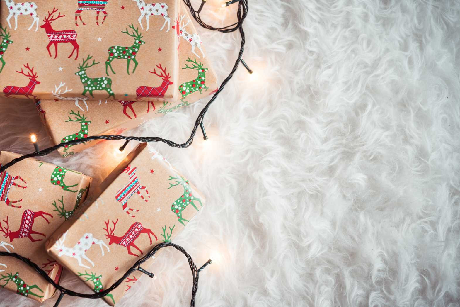 christmas presents and white room for text free hd image picjumbo