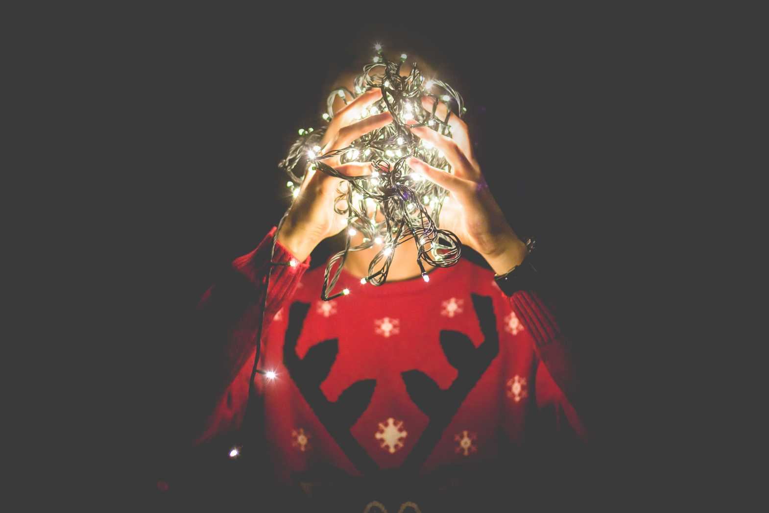 idea head christmas lights free stock image
